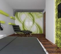 Projektowanie i aranżacja wnętrz - Sypialnie. Gra świateł w nowoczesnej sypialni z zielonymi akcentami.