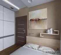 Obraz i oryginalna półka w sypialni