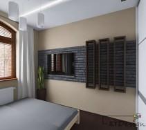 Kamień na ścianie w sypialni