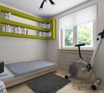 Sypialnia z zabudowanymi półkami na książki