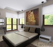Nowoczesne czarne łóżko i długie lampy z sypialni