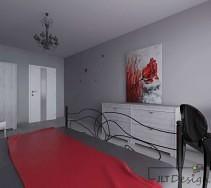 Klimatyczna sypialnia z czerwonymi akcentami