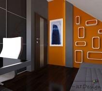 Sypialnia dla nastolatka w kolorach soczystej pomarańczy