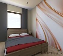 Minimalistyczna sypialnia z aplikacją na ścianie