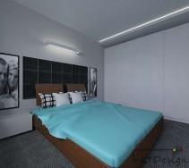 Nowoczesna sypialnia z dużą szafą w zabudowie i niebieskimi dodatkami