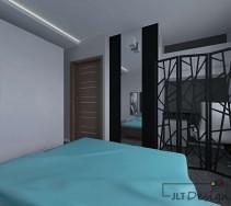 Wydzielowy kącik biurowy w sypialni z niebieskimi dodatkami