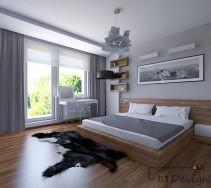 Duże drewniane łóżko w sypialni
