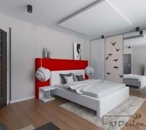 Nowoczesna sypialnia z powieszanym sufitem i designerskim łóżkiem