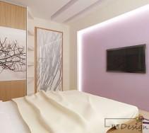 Szklane drzwi z aplikacją i podwieszane sufity w sypialni