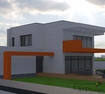 Jasnoszara elewacja budynku z domieszką intensywnego pomarańczu na balkonie oraz pasem zdobiącym część domu.