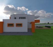 Boczna ściana elewacji domu z oknami wzbogaconymi pomarańczowymi ramkami na tle szarej elewacji.