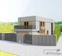 Projekt elewacji domu widok prezentujący całość.