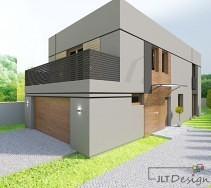 Ściana frontowa domu prezentująca wejście w kolorze naturalnego drewna.