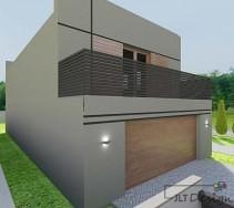 Ściana domu z dużym balkonem oraz drzwiami garażowymi w kolorze drewna.