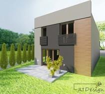 Ściana domu z tarasem oraz donicami z roślinnością