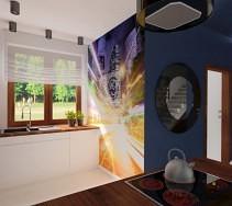 """""""Dynamiczna"""" fototapeta dodaje wigoru kuchni w ciemnych kolorach"""