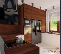 Brązowo biała kuchnia z czarnymi dodatkami - urządzeniami