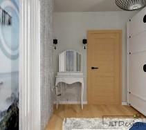 Toaletka przy wejściu do sypialni i krzesło w designerskim stylu