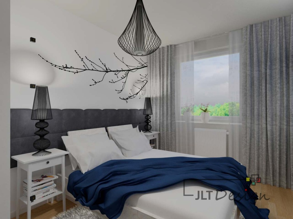 Nowoczesna biała sypialnia z szarymi i granatowymi akcentami.