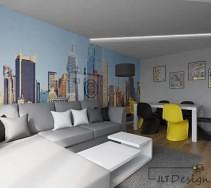 Szara kanapa w salonie na tle ściany z tapetą przedstawiającą miasto.