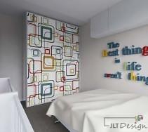Biała sypialnia z designerską ścianą o oryginalnym wzorze.