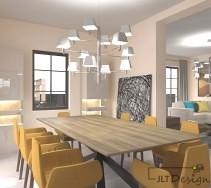 Piękne wiszące lampy w jadalni i salonie