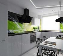 Widok na kuchnię, z prawej wiszące, czarne lampy