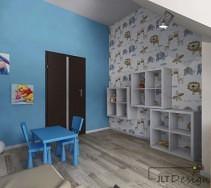 Ściany we wzory i asymetryczne półeczki w pokoju dziecięcym.
