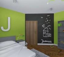 Czarna ściana po której można pisać kredą idealnie kontrastuje z zielenią