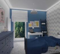 Pokój młodzieżowy w niebiesko białych barwach