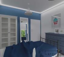 Pokój młodzieżowy w odcieniach niebieskiego z listwą led oświetlającą sufit