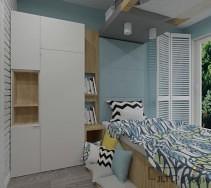 Biało niebieski pokój młodzieżowy z cegłą na ścianie