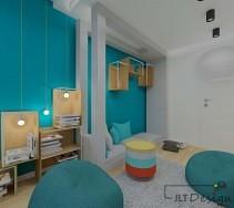 Wysoka zabudowa i niesymetrycznie rozłożone szafki na tle niebieskiej ściany