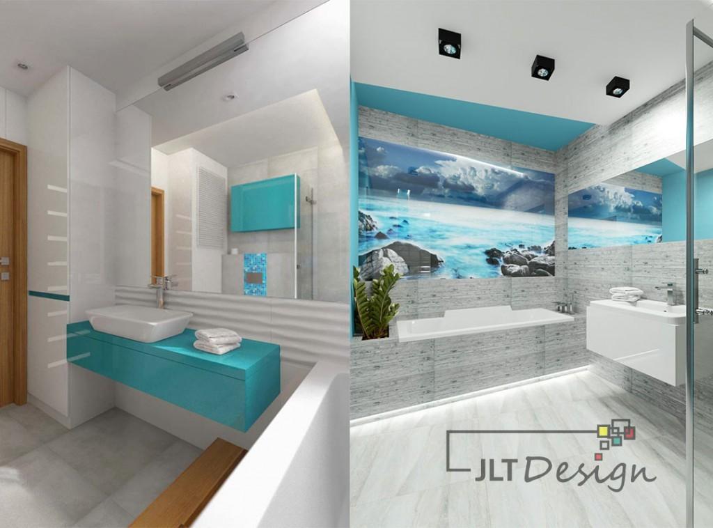 łazienka W Odcieniach Niebieskiego Jlt Design Bydgoszcz