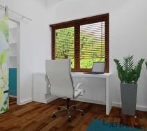 Jasne, przejrzyste biuro z biurkiem z ciekawą nogą - w postaci szafek