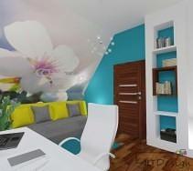 Podświetlany regał na tle niebieskiej ściany w pomieszczeniu biurowym