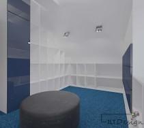 Duża ilość półek w biało niebieskiej garderobie