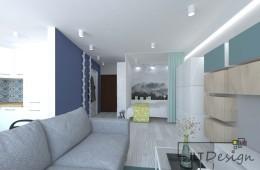 Małe mieszkanie w odcieniach niebieskiego