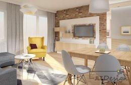 Przytulne mieszkanie z akcentami musztardowego koloru