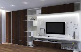 Mieszkanie z ciemnym drewnem