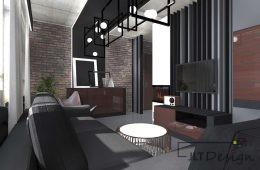 Miedziane mieszkanie z betonem na suficie