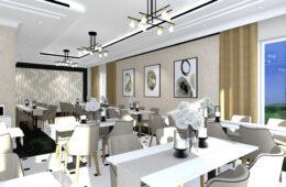 Restauracja w stylu Glamour ze złotem