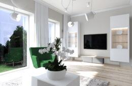 Nowoczesne mieszkanie o jasnych odcieniach z cegłą
