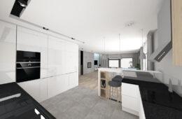 Dom z mieszanką drewna i betonu