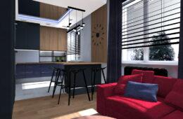 Mieszkanie w męskim stylu z malinową sofą i gwieździstym sufitem