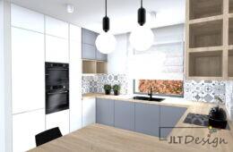 Kuchnia i łazienka w biało-szarej tonacji