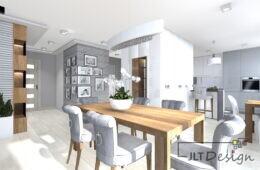 Apartament w stonowanej kolorystyce z drewnianymi meblami
