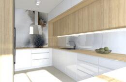 Kuchnia i łazienka z ciepłym drewnianym akcentem