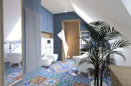 Patchworkowa łazienka z pralnią i garderobą