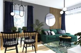 Salon z narożną sofą w butelkowej zieleni